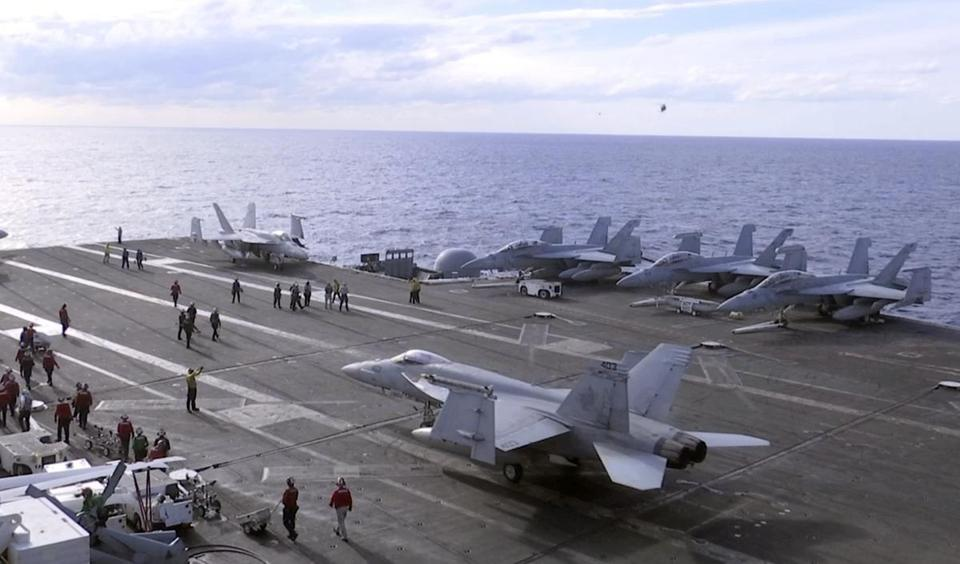 F-18 figher jets on the deck of the USS Ronald Reagan in the waters off Iwakuni, Japan.