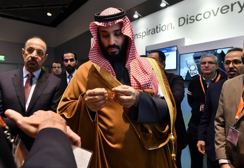 Above: Saudi Crown Prince Mohammed bin Salman visited MIT's campus in March 2018.