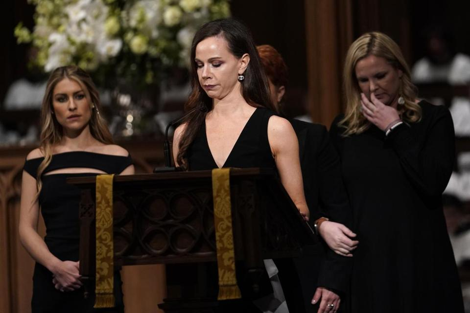 HOUSTON, TX - DECEMBER 06: (AFP-OUT) Granddaughter Barbara Pierce Bush reads scripture during a funeral service for former President George H.W. Bush at St. Martins Episcopal Church on December 6, 2018 in Houston, Texas. At back are Elizabeth Dwen Andrews, left, and Marshall Lloyd Bush. President Bush will be buried at his final resting place at the George H.W. Bush Presidential Library at Texas A&M University in College Station, Texas. A WWII combat veteran, Bush served as a member of Congress from Texas, ambassador to the United Nations, director of the CIA, vice president and 41st president of the United States. (Photo by David J. Phillip-Pool/Getty Images)