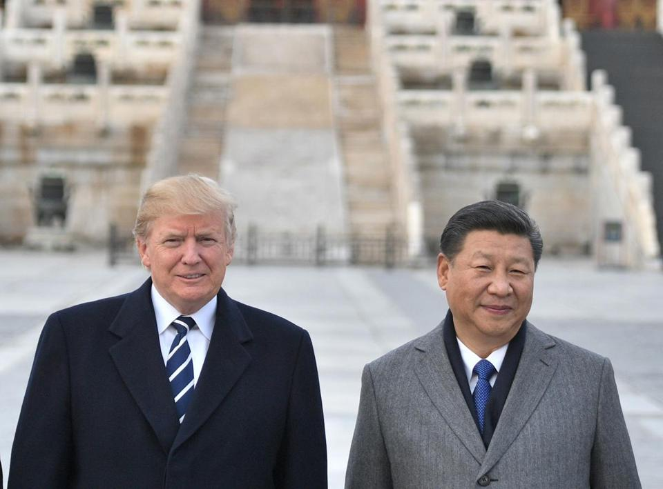 "(FILES) In this file photo taken on November 8, 2017, US President Donald Trump, and Chinese President Xi Jinping pose at the Forbidden City in Beijing. - There is a ""good possibility"" President Donald Trump will reach an agreement later this week to resolve the US trade dispute with China, a White House official said November 27, 2018. Economic advisor Larry Kudlow told a media briefing ""the president said there is a good possibility that we can make a deal and he is open to it.""Trump is due to meet Chinese leader Xi Jinping in Buenos Aires later this week on the sidelines of the Group of 20 summit. (Photo by Jim WATSON / AFP)JIM WATSON/AFP/Getty Images"