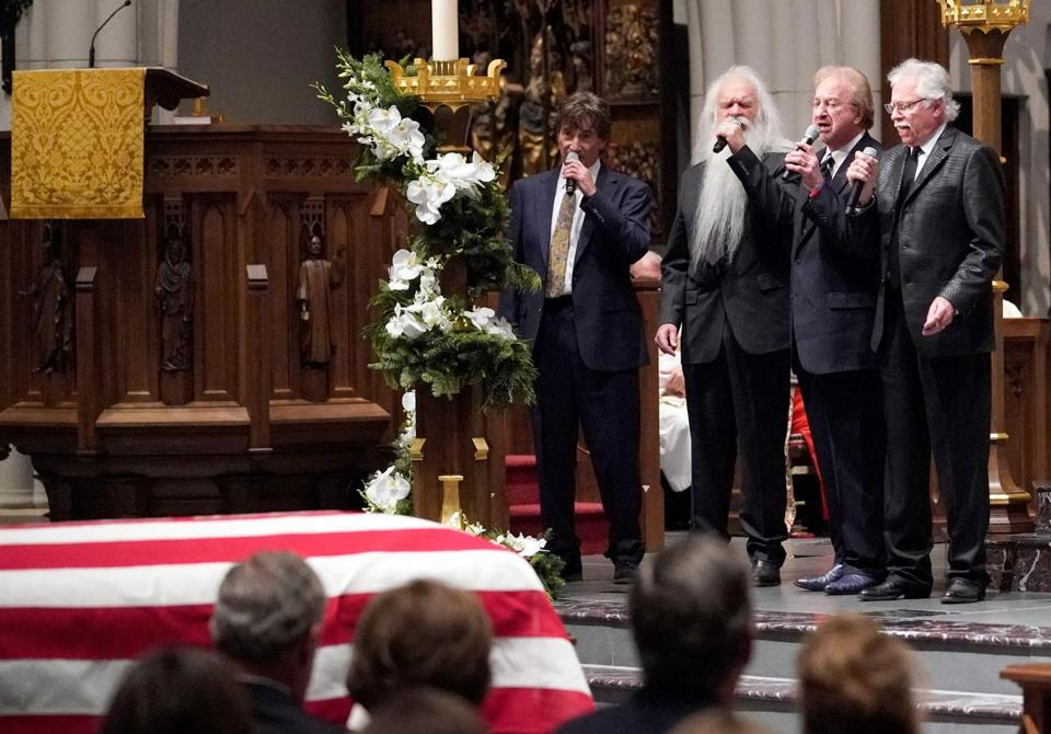 "The Oak Ridge boys sing ""Amazing Grace"" during a funeral service for former US President George H.W. Bush at St. Martin's Episcopal Church, on December 6, 2018, in Houston. (Photo by David J. Phillip / POOL / AFP)DAVID J. PHILLIP/AFP/Getty Images"