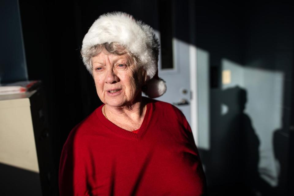 12/11/2018 AMESBURY, MA Beverly Daigle (cq) 76 of Southampton, waits for a group session to start at the Amesbury Council on Aging. (Aram Boghosian for The Boston Globe)
