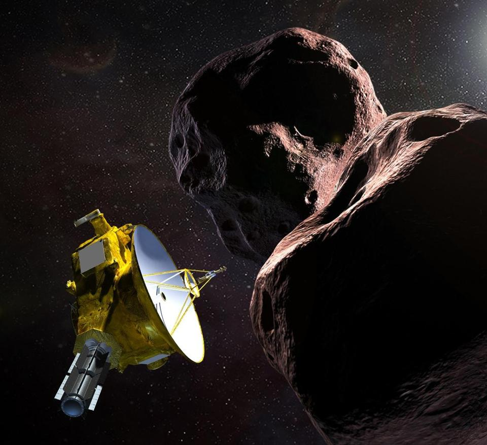 An artist's illustration from NASA shows the New Horizons spacecraft encountering the Kuiper belt object known as Ultima Thule