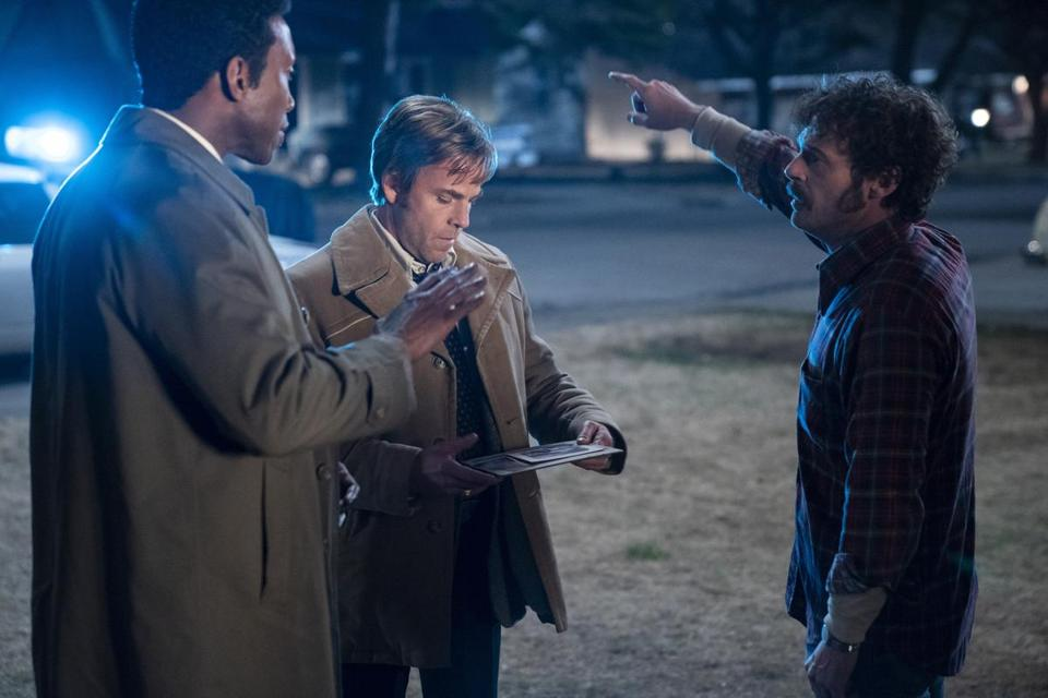 "From left: Mahershala Ali, Stephen Dorff, and Scoot McNairy in the third season of ""True Detective."""