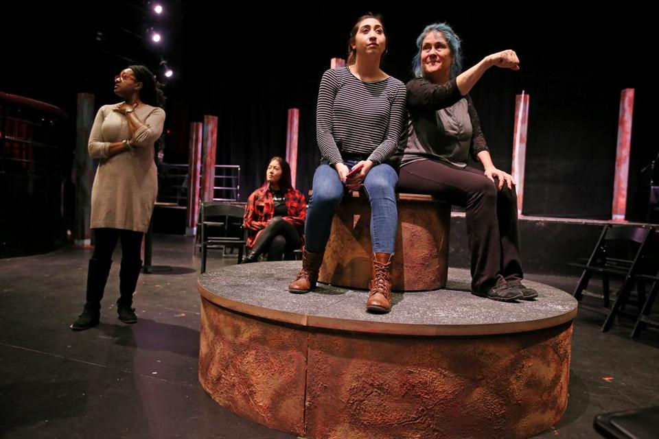 "Krystal Hernandez (center right) and Johanna Carlisle-Zepeda (right) rehearse a scene from ""Miss You Like Hell"" for director Summer L. Williams (left) at Oberon in Cambridge."