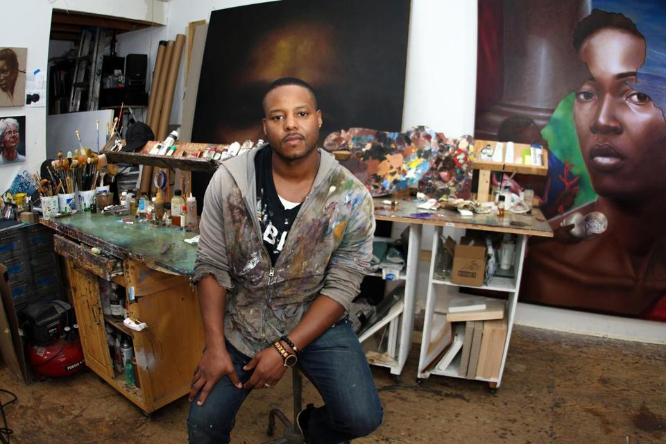 Titus Kaphar in his New Haven studio.