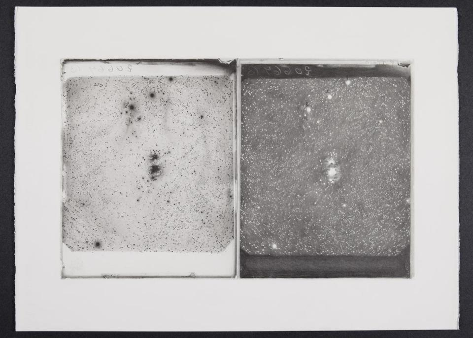 Negative and Positive Plates B20667 and D16409, Nebula in Orion, Oct 26, 1897 2018, pencil on paper, 22×30 in.