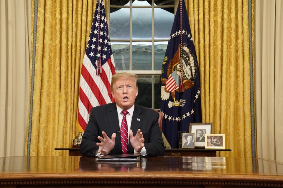 US President Donald Trump delivers an address to the nation on funding for a border wall from the Oval Office of the White House in Washington DC on January 8, 2019. (Photo by CARLOS BARRIA / POOL / AFP)CARLOS BARRIA/AFP/Getty Images