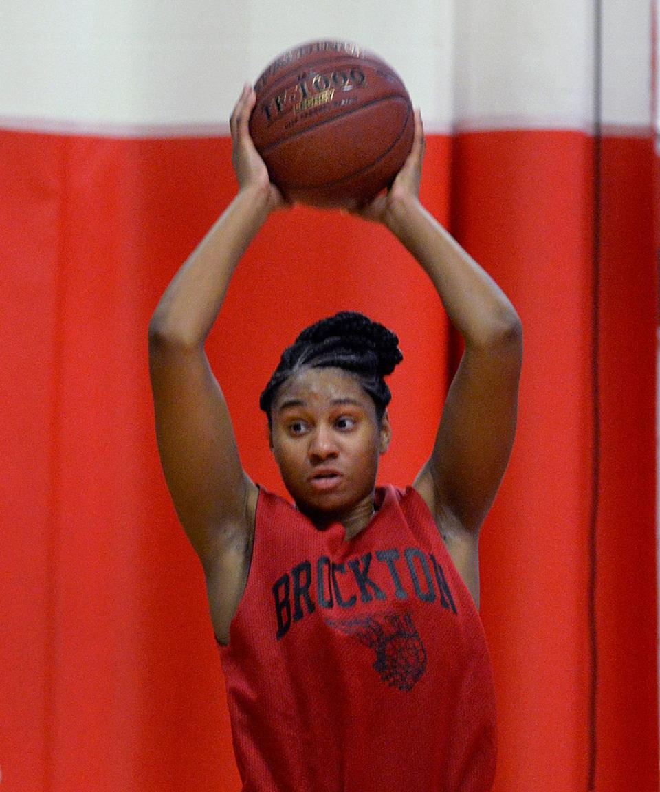 "Jade Wint, the senior captain of Brockton girls' basketball team, was ""really surprised"" by the strong turnout for tryouts this season."