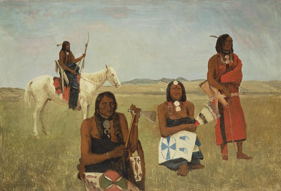 Indians near Fort Laramie Albert Bierstadt (American (born in Germany), 1830–1902) about 1859 Oil on paper mounted on paperboard * Bequest of Martha C. Karolik for the M. and M. Karolik Collection 