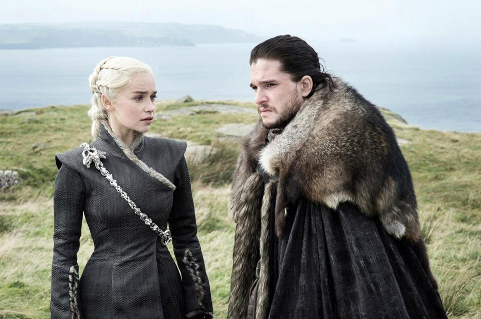 "Emilia Clarke as Daenerys Targaryen and Kit Harington as Jon Snow in ""Game of Thrones."""