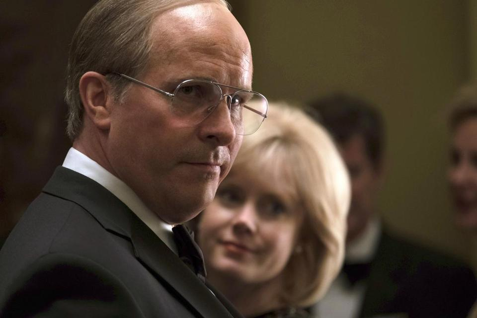 "Christian Bale as Dick Cheney, left, and Amy Adams as Lynne Cheney in a scene from ""Vice."" A private screening of the film at the Brattle Theatre Thursday, Jan. 10, was organzied by Pultizer winner Ron Suskind."