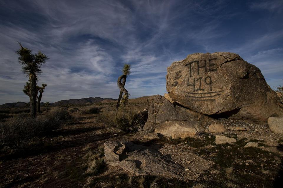 JOSHUA TREE, CA - JANUARY 8, 2019: A rock has been vandalized with graffiti in Joshua Tree National Park on January 8, 2019 in Joshua Tree, California. The park may temporarily close on Thursday because of the government shutdown. (Gina Ferazzi/Los AngelesTimes) MUST CREDIT
