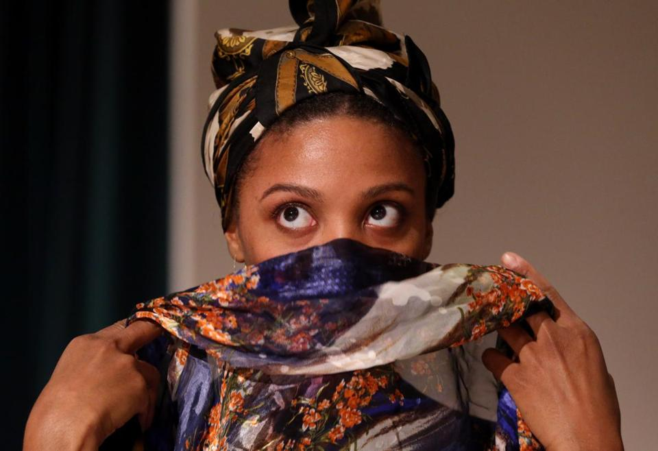 "Jade Wheeler, shown during rehearsal, stars as Eartha Kitt in ""Who is Eartha Mae?"" at the Multicultural Arts Center in Cambridge."