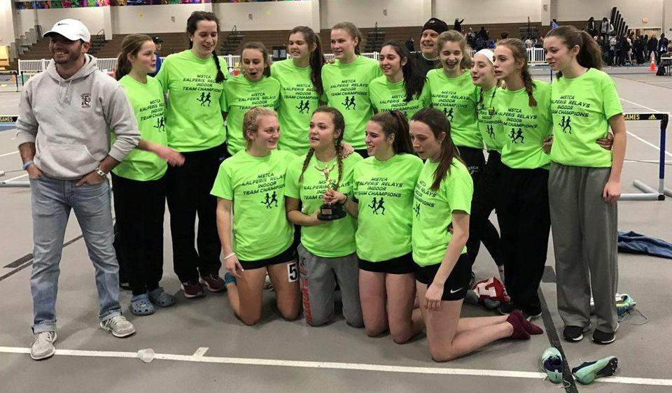 The Amesbury girls team defended its MSTCA Division 5 State Coaches Relays crown on Friday at Reggie Lewis Track and Athletic Center.