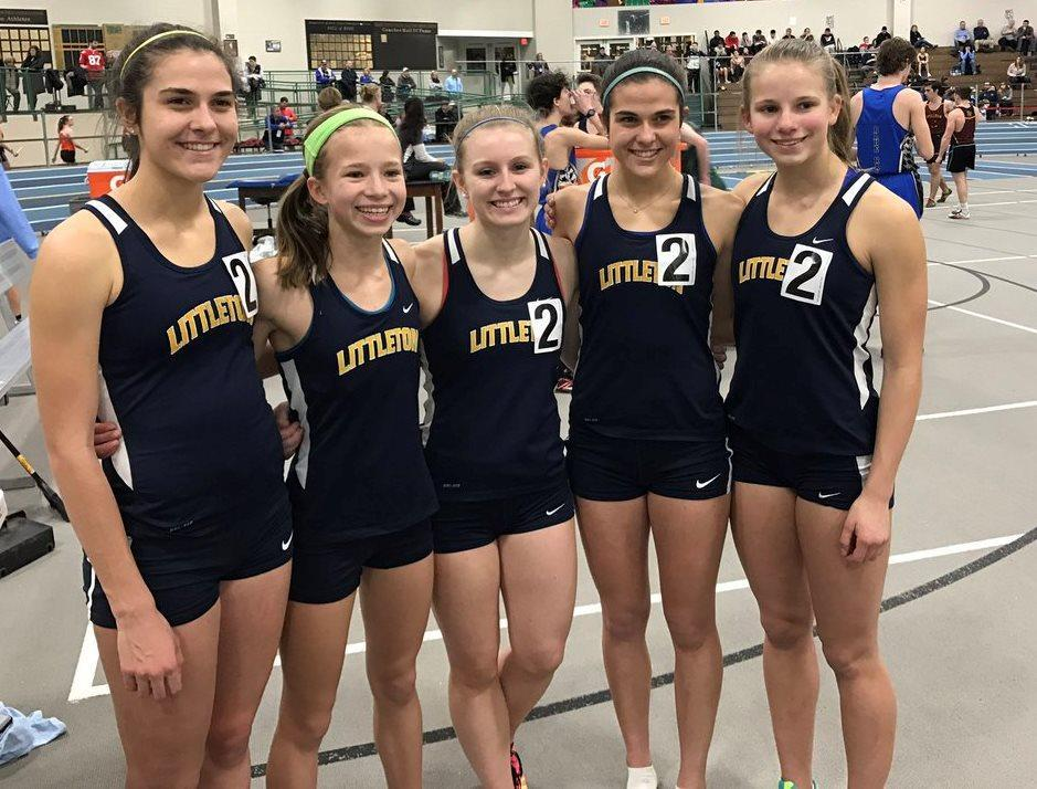 Littleton runners Kaitlyn Roffman, Sarah Roffman, McKenzie Clark, Riley Clark, and Hannah Jayne set two records at the MSTCA Division 5 State Coaches Relays on Friday at Reggie Lewis Track and Athletic Center.