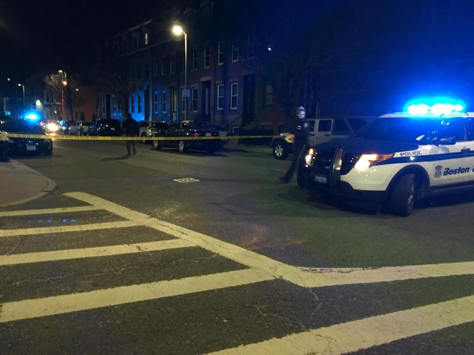 Boston police investigated on Blue Hill Avenue Saturday night.