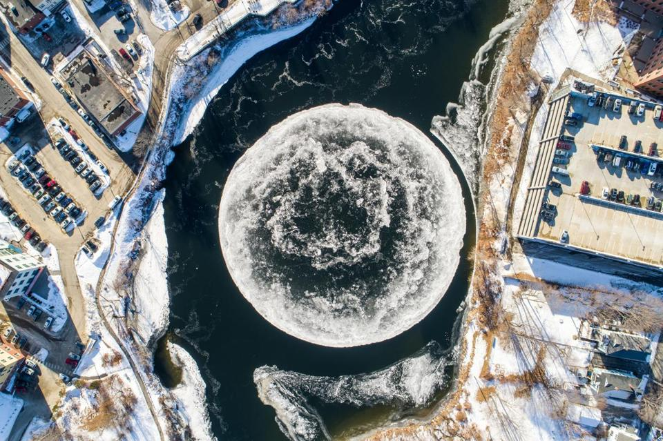 Giant rotating ice disc forms in river