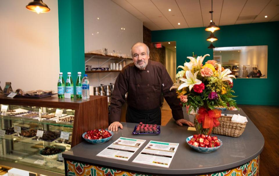 Delphin Gomes, former director of the pastry program at the Cambridge School of Culinary Arts, is the head chocolate chef at Kakawa Chocolate House in Salem.