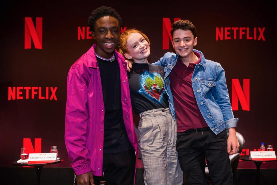"""Stranger Things"" stars Caleb Mclaughlin (left), Sadie Sink, and Noah Schnapp. Netflix has said that it expects to have about 100 original TV series in production this year in languages other than English."