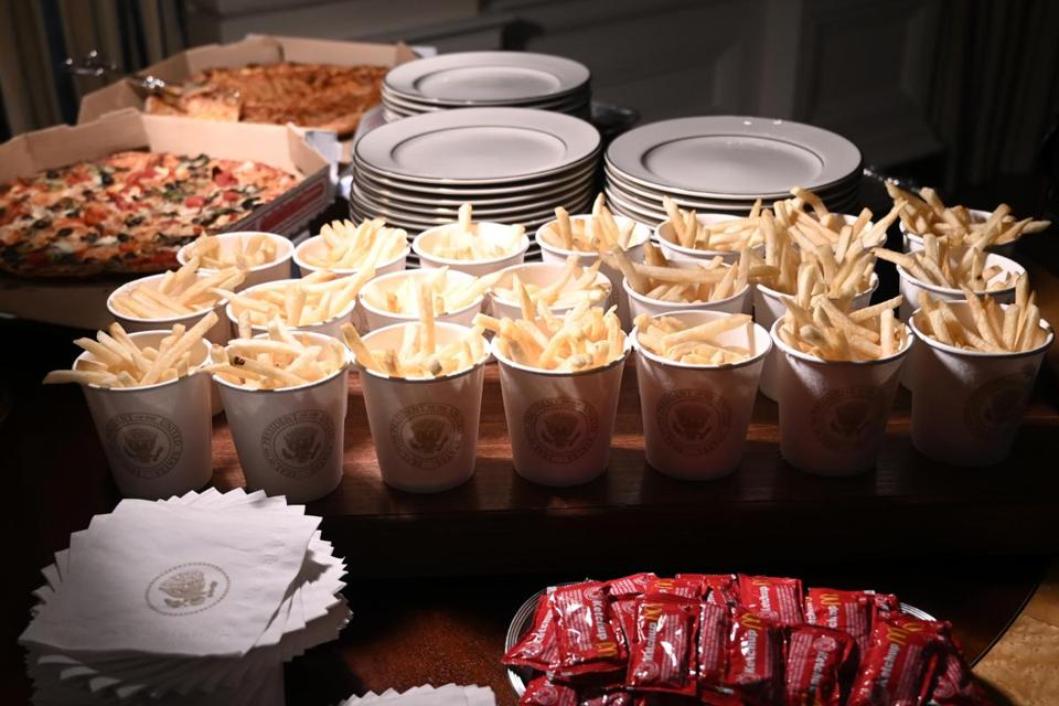French fries and pizza are some of the fast food items for the reception for the Clemson Tigers in the State Dining Room of the White House in Washington, D.C., Monday.