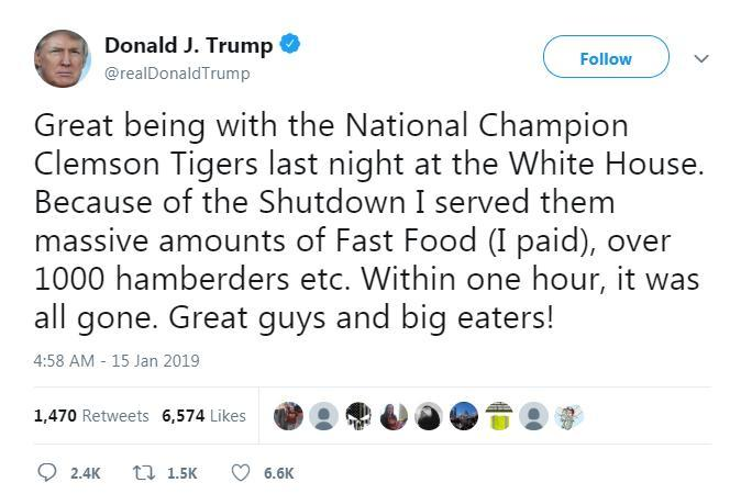 A capture of the now-deleted tweet, in which President Donald Trump touts the 'hamberders' he bought for the Clemson Tigers football team.
