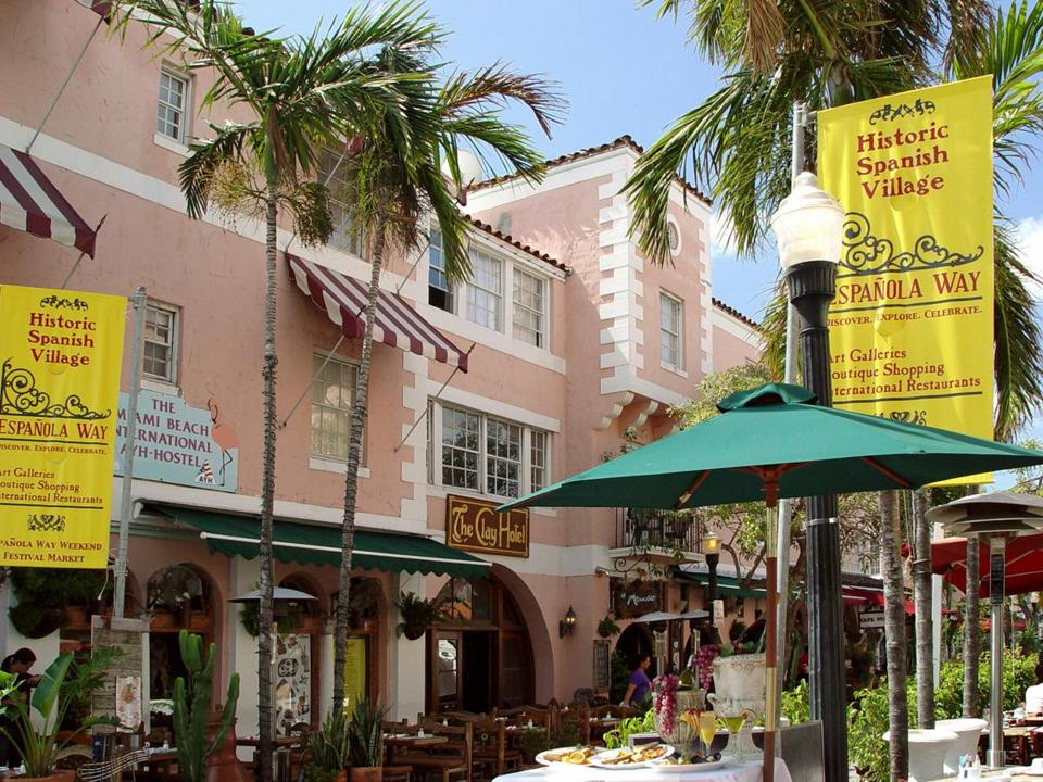 Ride sharing makes it easy to explore Miami's neighborhoods, and take in its architectural gems. Shown here: Espanola Way village.