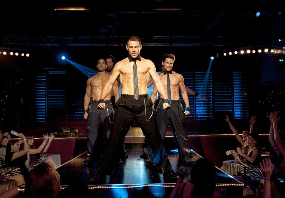 "A scene from ""Magic Mike."" Channing Tatum (center), the star of that film, is one of the producers of the musical adaptation that was to have premiered in Boston."