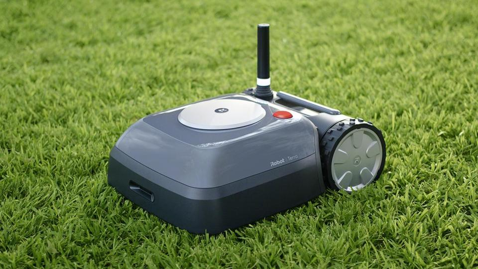 "The Terra's ""geofencing"" feature memorizes the owner's yard, so the mower won't run anywhere else."