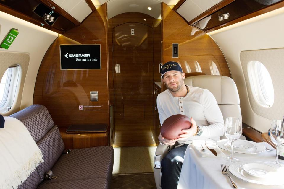 New England Patriots wide receiver Julian Edelman relaxes on a Magellan Jet.