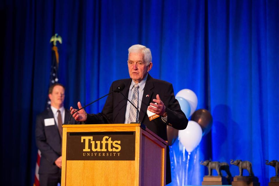 Mr. Sands accepted an award at Tufts University's inaugural Athletics Hall of Fame ceremonies in April 2018.