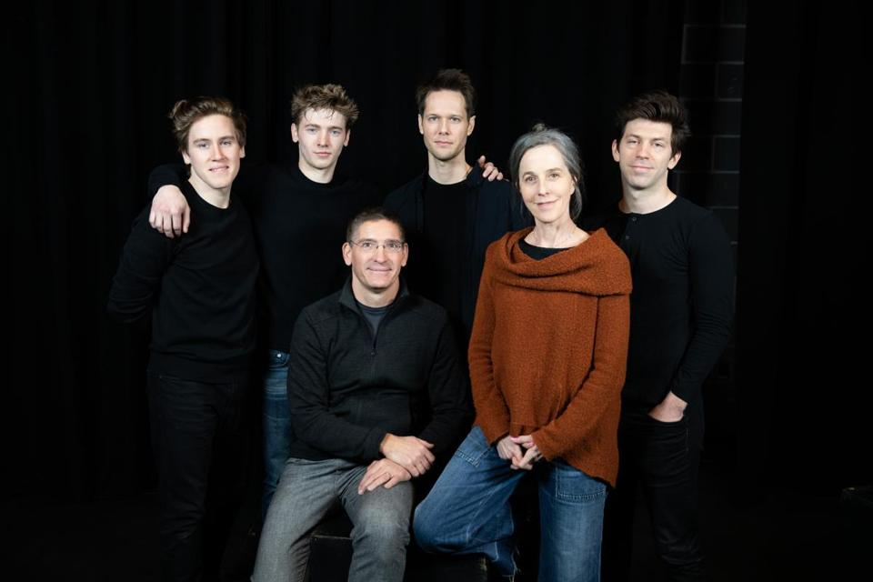 """Birdy"" director Steve Maler and playwright Naomi Wallace (front) with cast members Spencer Hamp, Maxim Chumov, Will Taylor, and Keith White."