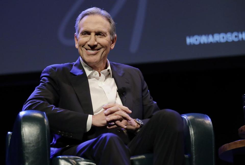 "Former Starbucks CEO Howard Schultz speaks Thursday, Jan. 31, 2019, at an event to promote his book, ""From the Ground Up,"" in Seattle. Schultz has faced a rocky reception since he announced earlier in January that he's considering an independent presidential bid. (AP Photo/Ted S. Warren)"