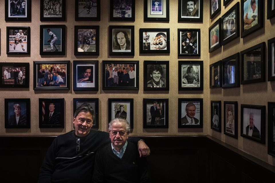 George Ravanis (left), owner of Frank's Steak House, and dining room manager Rocco Ciarlone.