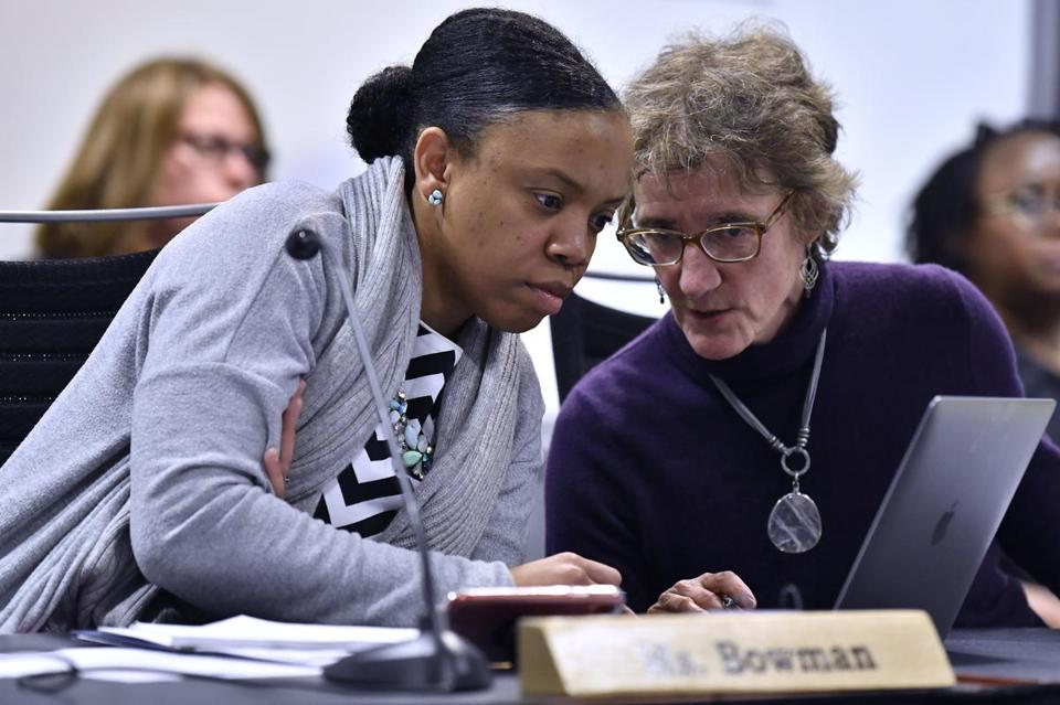 School Committee member Manikka Bowman (left) said she filed the motion to investigate the incident after hearing from the city's high school students who said they were upset with Emily Dexter's apology.