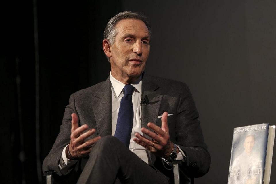 Cambridge, MA--02/05/2019--Howard Schultz, a potential presidential candidate, talks about his book at the Brattle Theater in Cambridge Tuesday night. (Nathan Klima for the Boston Globe) Topic: 06schultz Reporter: