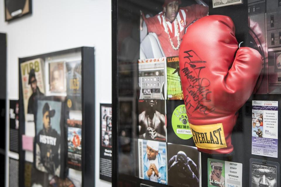 "A boxing glove from LL Cool J with the inscription ""Mama said knock you out."""