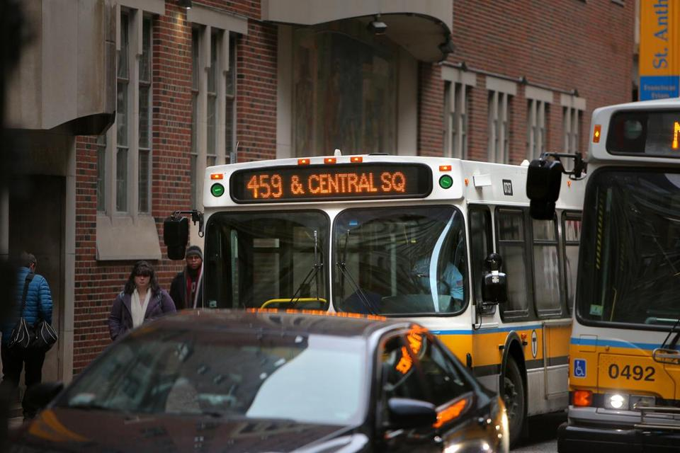 The 459 bus from Salem sits in traffic on Otis Street in downtown Boston.