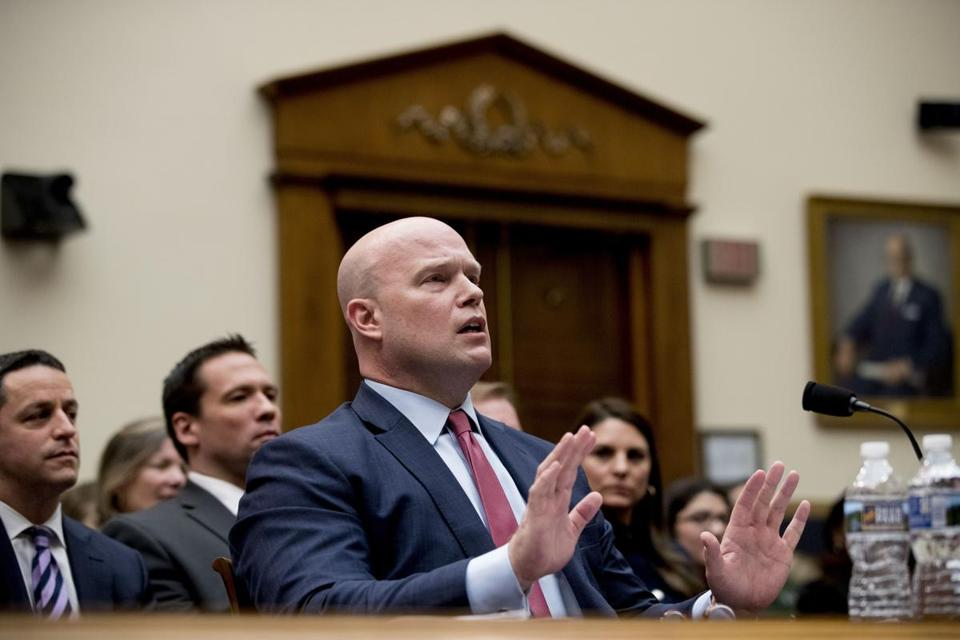 Acting Attorney General Matthew Whitaker speaks after telling Judiciary Committee Chairman Jerrold Nadler, D-N.Y., that his time has expired during questioning before the House Judiciary Committee on Capitol Hill, Friday, Feb. 8, 2019, in Washington. (AP Photo/Andrew Harnik)