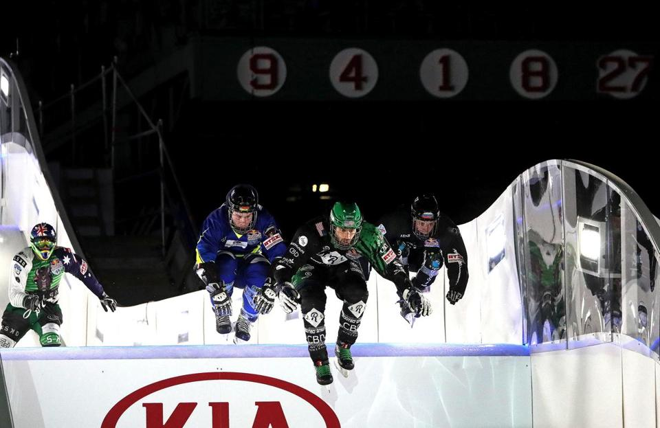 Many memorable moments have happened beneath the retired Red Sox numbers in right field at Fenway Park, but nothing like the Red Bull Crashed Ice event that was held Friday.