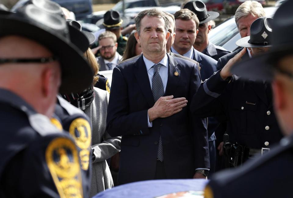 Governor Ralph Northam of Virginia attended the funeral of a state trooper on Saturday in Chilhowie, Va.