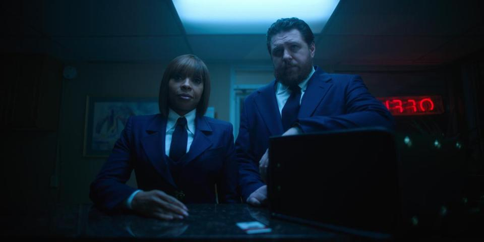 "Mary J. Blige and Cameron Britton in the Netflix series ""The Umbrella Academy."""