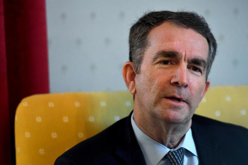 "In his first interview since a racist photograph in his medical school yearbook came to light on Feb. 1, Virginia Gov. Ralph Northam said that despite widespread calls for his resignation he is determined to spend the remaining three years of his term pursuing ""equity."" MUST CREDIT: Washington Post photo by Katherine Frey."