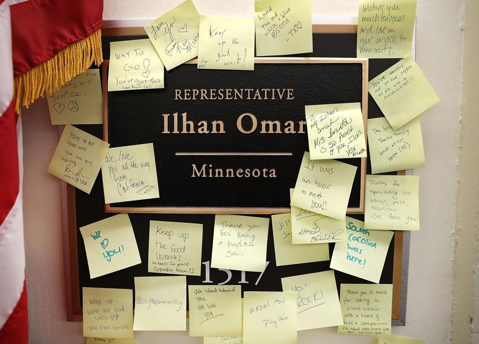 WASHINGTON, DC - FEBRUARY 11: Notes of support are posted on the name plate outside the office of Rep. Ilhan Omar (D-MN) in the Longworth House Office Building on February 11, 2019 in Washington, DC. Rep. Omar is drawing criticism from both sides of the aisle for what some say was an antisemitic tweet. (Photo by Mark Wilson/Getty Images)