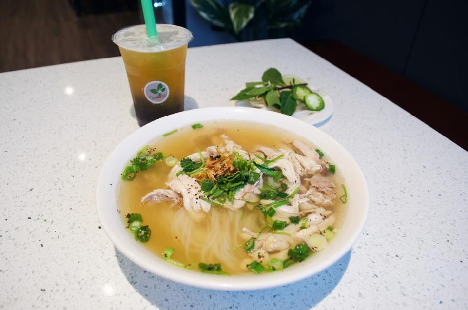 Chicken and rice noodle soup has already proven popular at the new Newton Centre location.