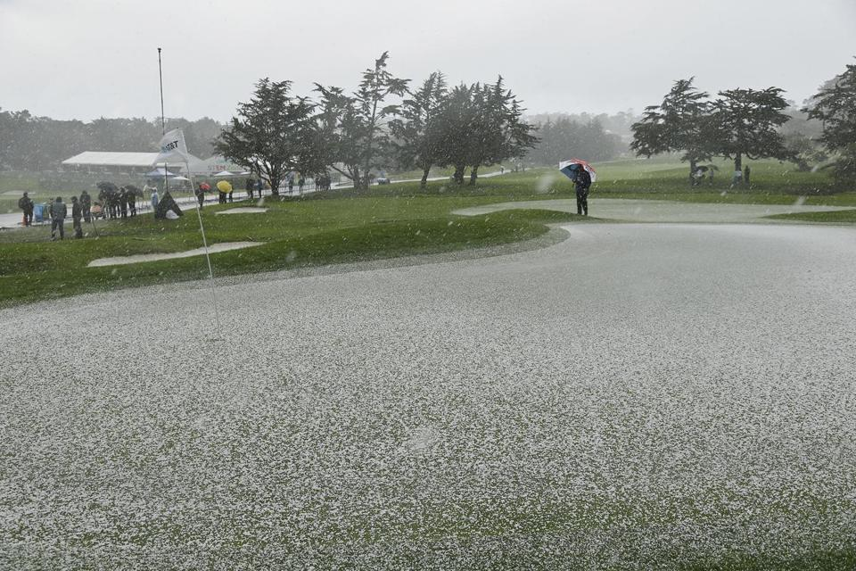 Hail covered the second green at Pebble Beach for a time Sunday