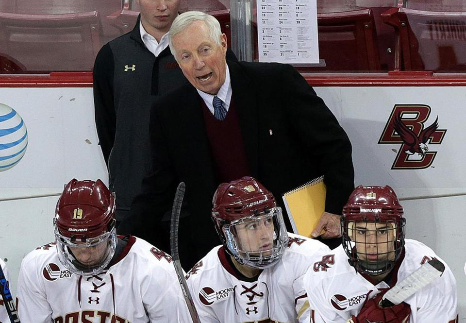 Boston, MA - 01/08/16 - (1st period) Boston College head coach Jerry York. Boston College takes on Providence College at Kelley Rink. - (Barry Chin/Globe Staff), Section: Sports, Reporter: Mark Majewski, Topic: 09BC-PC hockey, LOID: 8.2.1141586366.