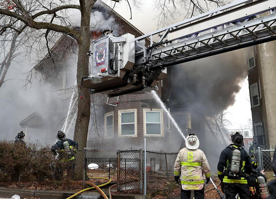 Roxbury 02/12/19 Boston firefighters battled a five-alarm fire in a residence at 27 Perrin Street as freezing temperatures made for difficult conditions.Photo by John Tlumacki/Globe Staff(metro)