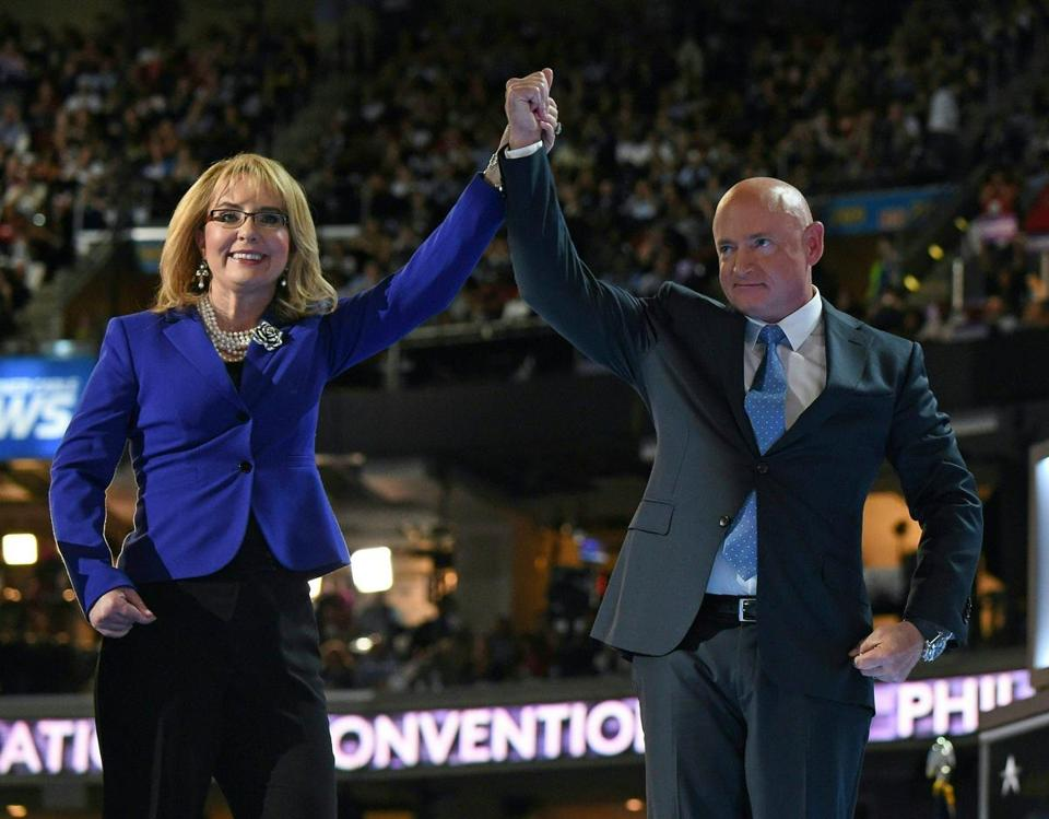 Former Arizona representative Gabby Giffords and her husband, astronaut Mark Kelly, addressed the 2016  Democratic National Convention.