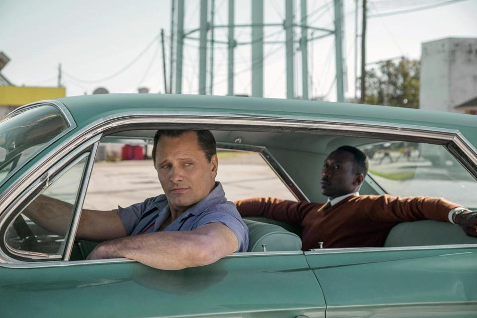 "Viggo Mortensen (left) and Mahershala Ali in ""Green Book."""